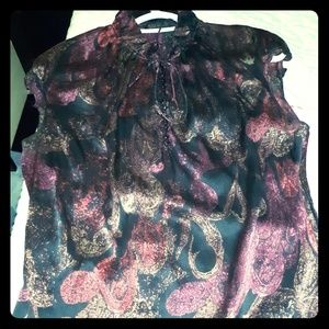 Tahari silky half button draw string collar blouse